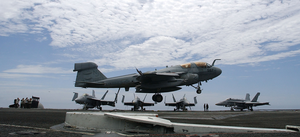 An Ea-6b Prowler  Prepares To Make An Arrested Landing On The Flight Deck Aboard Uss John C. Stennis (cvn 74) Image