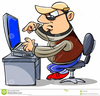 Clipart Of A Man Working At A Computer Image