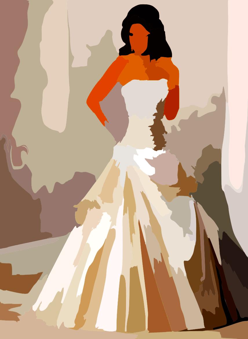 Corset wedding dress vector colour contrast enhance free Wedding dress vector