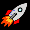 Rocket With Flame Right And Red Clip Art