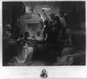 Reading The Emancipation Proclamation  / H.w. Herrick, Del., J.w. Watts, Sc. Image
