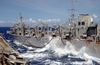 Waves Crash Between Ships As The Fast Combat Support Ship Uss Sacramento (aoe 1) Transfers Fuel And Cargo To The Aircraft Carrier Uss Carl Vinson During An Underway Replenishment. Image