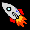 Rocket W/red Wing And Flame Clip Art