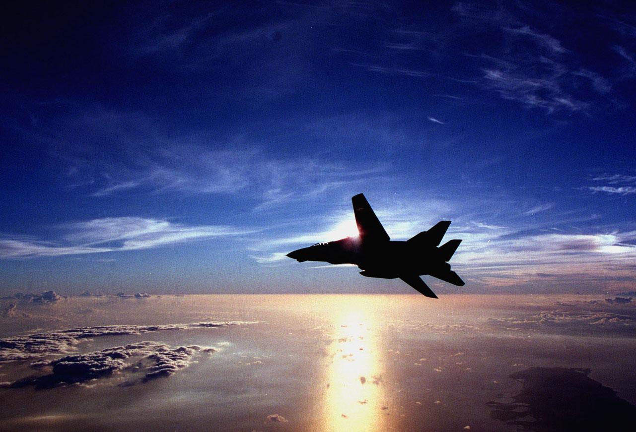 f14 flying at sun set free images at clkercom vector