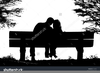 Couple Silhouette Bench Image
