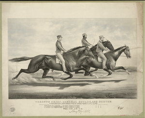 Toronto Chief, General Butler, And Dexter: In Their Great Race Under Saddles, Over The Fashion Course, L.i. July 19th, 1866 Image