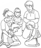 Black And White Clipart Family Image