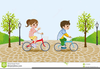 Kids Riding Bikes Clipart Image