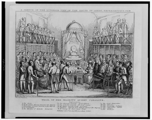A Sketch Of The Interior View Of The House Of Lords, Representing The Trial Of Her Majesty Queen Caroline  / Drawn By Cruikshanks ; Etched By Roberts. Image