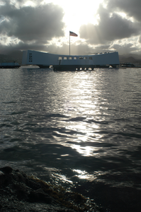 The Sun Rises Behind Uss Arizona Memorial On The Morning Of The Uss Lincoln Battle Group Arrival To Pearl Harbor. Image
