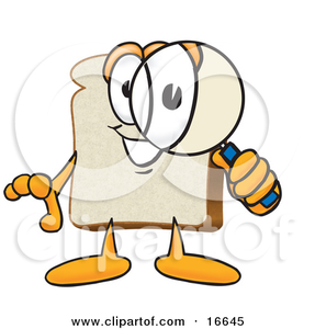 Clipart Picture Of A Slice Of White Bread Food Mascot Cartoon Character Peering Through A Magnifying Glass Image