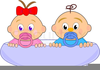 Twin Girls Clipart Image