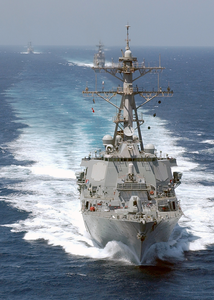 The Guided Missile Destroyer Uss Donald Cook (ddg 75) Leads A Five-ship Armada Conducting Underway Operations In Support Of Operation Iraqi Freedom. Image