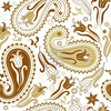 Repeating White And Brown Floral Pattern With Paisley And Tulips Vector Image