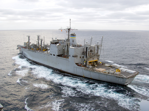 Usns Mount Shasta Steams Alongside The Aircraft Carrier Uss Carl Vinson Image