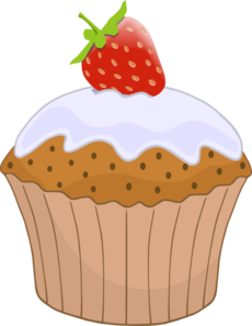 Cupcake With Strawberry On Top Clip Art