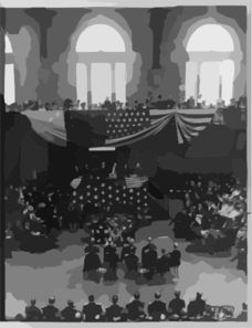 [teddy Roosevelt And Others Gathered On A Platform, People Above And Below Seated] Clip Art