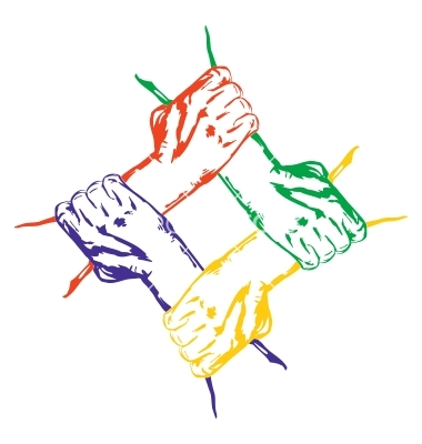 Hands Holding Each Other In Unity Multiracial Vector ...