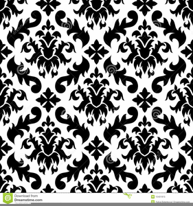 Black And White Damask Background Clipart Image