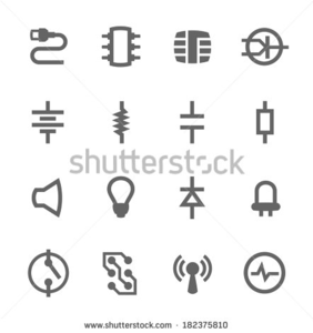 Stock Vector Simple Set Of Electronic Components Related Vector Icons For Your Design Image