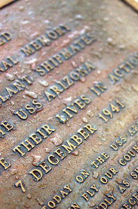 A Commemoration Plaque Is Mounted At The Base Of The Flagstaff Aboard The Uss Arizona Memorial. Image