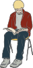 Man Sitting Reading Clip Art
