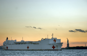 U.s. Navy Hospital Ship Usns Comfort (t-ah 20) Passes The Statue Of Liberty Enroute To Manhattan. Image