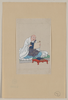 [religious Figure, Probably A Monk, Seated, Facing Slightly Right, Reading A Scroll, Several Scrolls Are On A Table In Front Of Him] Image