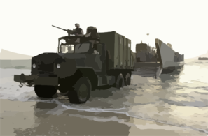 A 5-ton Truck Roles Off Of A Landing Craft Utility (lcu) From The Uss Tarawa Amphibious (lha 1) Ready Group (arg) To Be Used For Future Operations. Clip Art