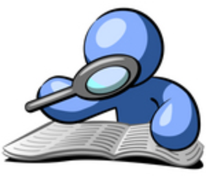 Clip Art Graphic Of A Blue Guy Character Researching A Book With A Magnifying Glass By Jester Arts Image