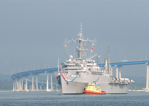 Uss Dubuque (lpd 8) Clears The Coronado Bridge With The Assistance Of A Tugboat. Dubuque Is Returning To Her Homeport Of Naval Station San Diego Image