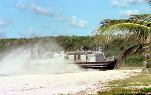 A Landing Craft Air Cushion (lcac) Hits The Beach At Vieques Island Image