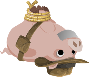 Hogtied Piggy Explorer Clip Art