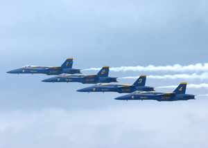 F/a-18 Hornets Assigned To The Blue Angels Perform At The 2002 N Image