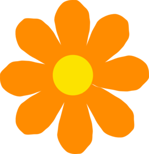 Bright Orange Flower Clip Art