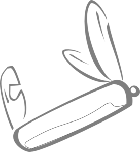 Gray Outline Swiss Army Knife Clip Art