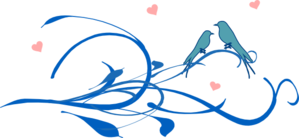 Blue Love Birds On A Branch Clip Art