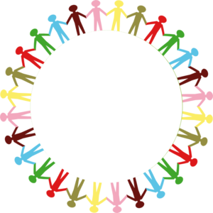 Circle Holding Hands Stick People Multi Coloured Clip Art