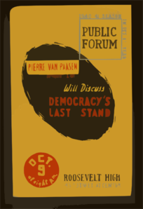 Pierre Van Paasen, Noted Foreign Correspondent & Author, Will Discuss Democracy S Last Stand  / Designed & Produced By Iowa Art Program Wpa. Clip Art