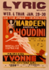 On The Stage - In Person, Hardeen, Brother Of Houdini Handcuffs And Jails Will Not Hold Him : The Greatest Mystery Show Of All Times.  Mentalist Supreme, Princess Yvonne, The Mystery Girl.  Clip Art