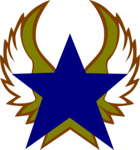 Blue Star With Gold Wings Clip Art