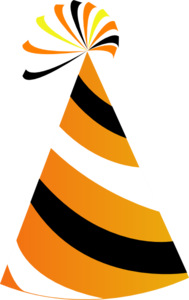 Orange And White Party Hat Clip Art