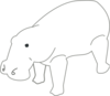 Hippo Outline Animal Clip Art
