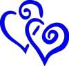 Royal Blue Intertwined Hearts Clip Art