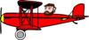 Red Biplane With Head Clip Art