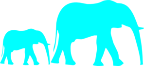 Mom And Baby Elephant Blue Clip Art