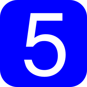 Blue, Rounded, Square With Number 5 Clip Art