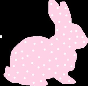 Pink Bunny Polka Dot Silhouette Clip Art
