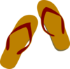Tan And Burgundy Flip Flops Clip Art