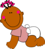 Brown Baby Crawling Clip Art